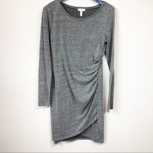 Leith Long Sleeve Gray Bodycon Ruched Dress